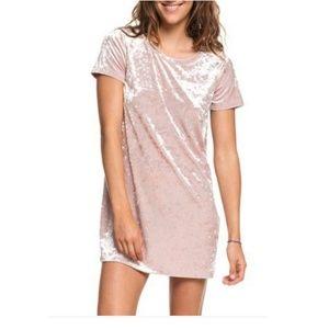 Roxy Cuffing Season Short Sleeve Velvet Dress Sz L